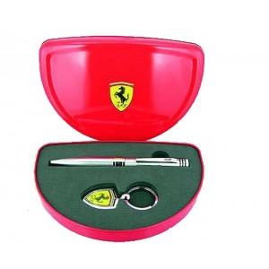 Juego bolígrafo y llavero Ferrari plata